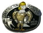 Construction Worker - BELT BUCKLE + display stand